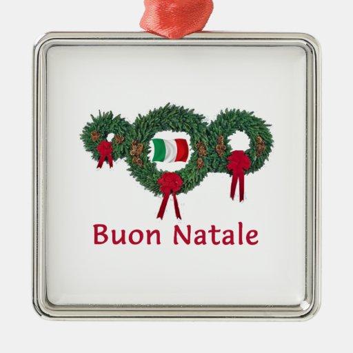 Navidad 2 de Italia Adorno Navideño Cuadrado De Metal