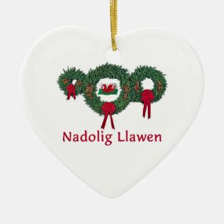 Navidad 2 de País de Gales Adorno Navideño De Cerámica En Forma De Corazón