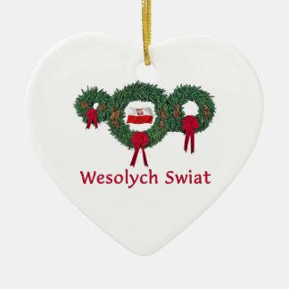 Navidad 2 de Polonia Adorno De Cerámica En Forma De Corazón