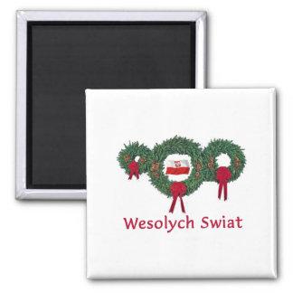 Navidad 2 de Polonia Imán Cuadrado
