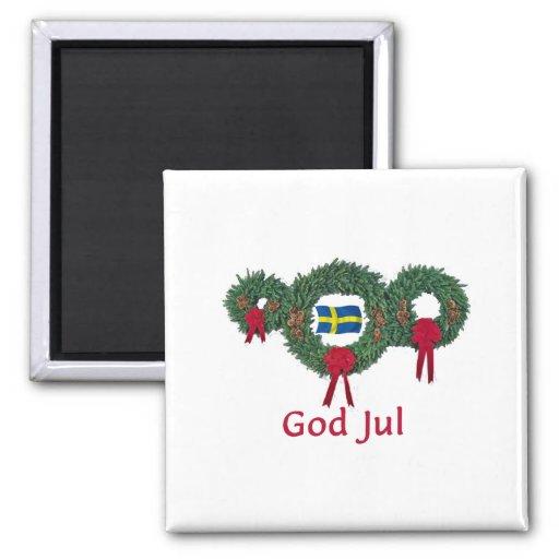 Navidad 2 de Suecia Imán Cuadrado