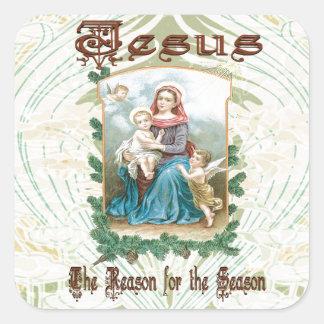 Navidad 2 - Jesús es la razón de la estación Pegatina Cuadrada