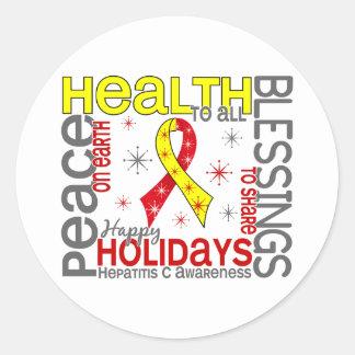 Navidad 4 copos de nieve de la hepatitis C Etiquetas Redondas