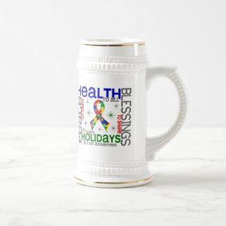 Navidad 4 copos de nieve del autismo taza de café