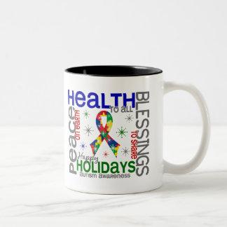 Navidad 4 copos de nieve del autismo tazas