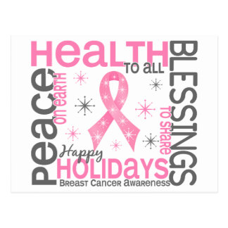 Navidad 4 copos de nieve del cáncer de pecho postal