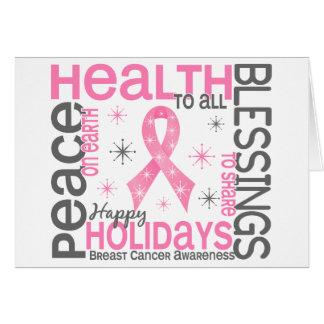 Navidad 4 copos de nieve del cáncer de pecho tarjeta de felicitación