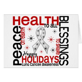 Navidad 4 copos de nieve del cáncer de pulmón felicitación