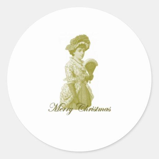 Navidad 9 del Victorian Pegatinas Redondas