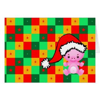 Navidad a cuadros del pequeño cerdo tarjeta de felicitación