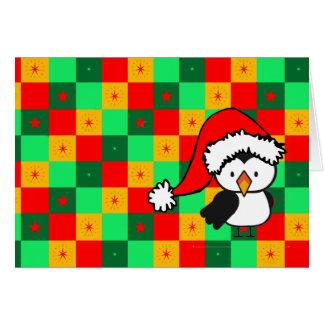 Navidad a cuadros del pequeño pájaro tarjeta de felicitación