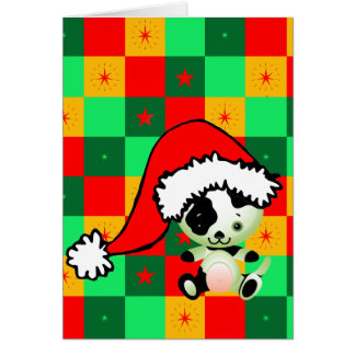 Navidad a cuadros del pequeño perrito tarjetas