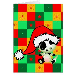 Navidad a cuadros del pequeño perrito tarjeta de felicitación