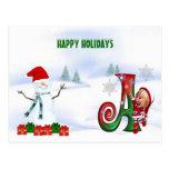 Navidad A del monograma de la postal