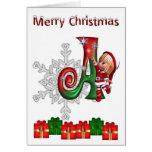 Navidad A del monograma de la tarjeta