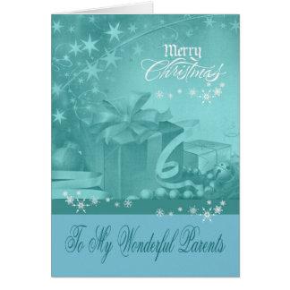 Navidad a la tarjeta de felicitación de los padres