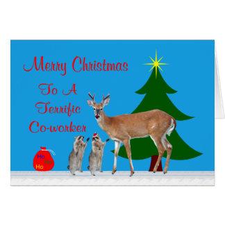 Navidad a la tarjeta de felicitación del compañero
