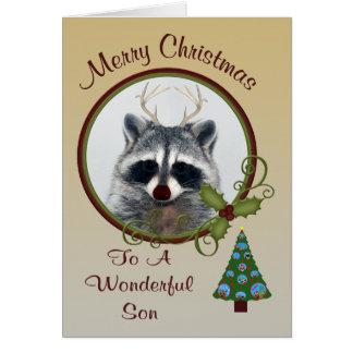 Navidad a la tarjeta de felicitación del hijo