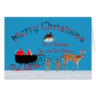 Navidad a la tarjeta de felicitación del hijo y de