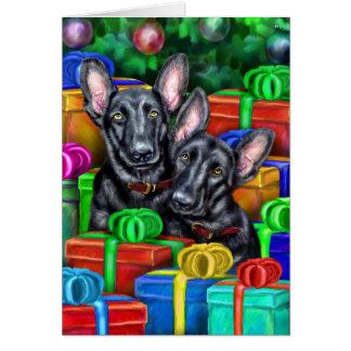 Navidad abierto del negro de los regalos del pasto tarjeta