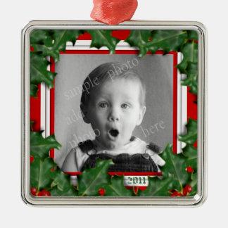 Navidad acebo, marco de la foto, ornamento rojo de adorno navideño cuadrado de metal