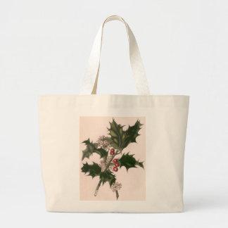 Navidad, acebo y bayas del vintage bolsa