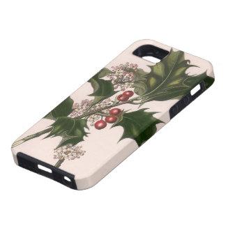 Navidad, acebo y bayas del vintage iPhone 5 Case-Mate cárcasas