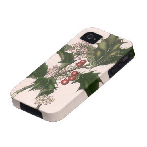 Navidad, acebo y bayas del vintage vibe iPhone 4 carcasas