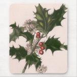 Navidad, acebo y bayas del vintage tapetes de ratones