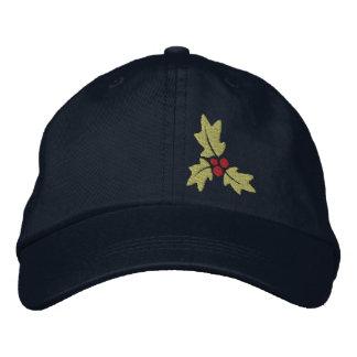 Navidad acebo y bayas gorras de beisbol bordadas