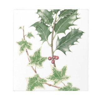 Navidad acebo y libreta botánica de la puntilla de bloc de notas