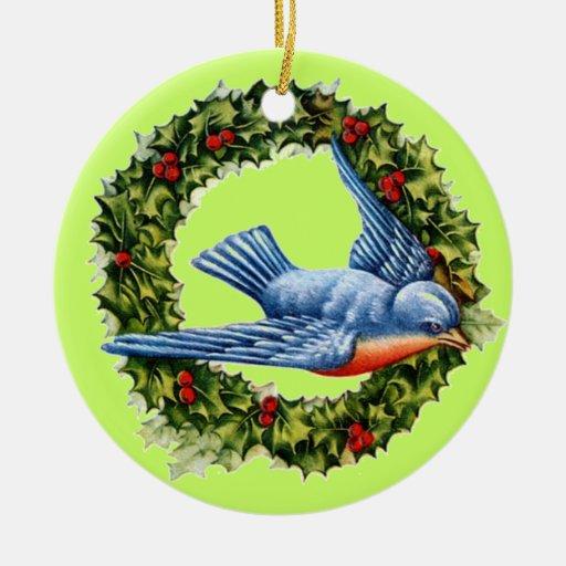 Navidad acebo y pájaro del vintage adorno de navidad