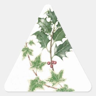 Navidad acebo y pegatinas botánicos de las pegatina triangular