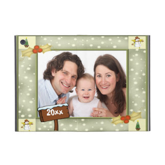 Navidad acebo y plantilla de la foto de los muñeco iPad mini protector