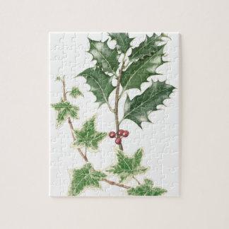 Navidad acebo y rompecabezas botánico de la hiedra