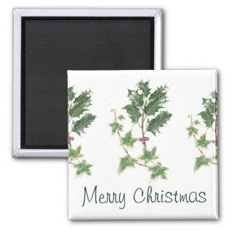 Navidad acebo y Watercolour botánico de la Imán Cuadrado