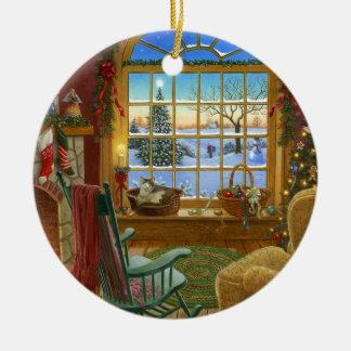 Navidad acogedor del gato adorno redondo de cerámica