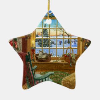 Navidad acogedor del gato adorno de cerámica en forma de estrella