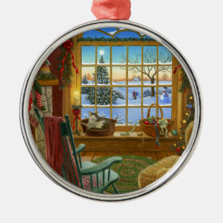 Navidad acogedor del gato adorno redondo plateado
