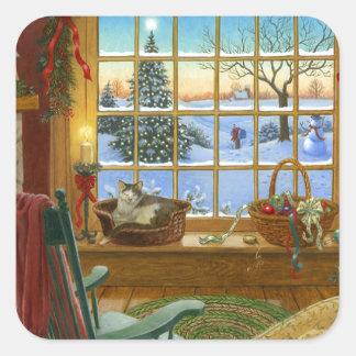 Navidad acogedor del gato pegatina cuadrada