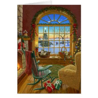 Navidad acogedor del gato tarjeta de felicitación