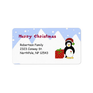 Navidad adaptable de los pingüinos etiqueta de dirección
