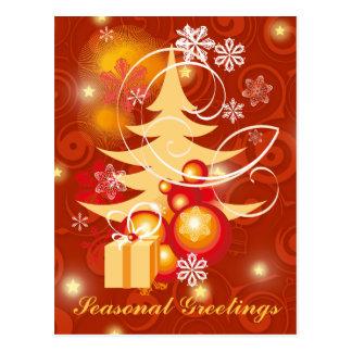 Navidad adaptable del rojo y del oro tarjeta postal