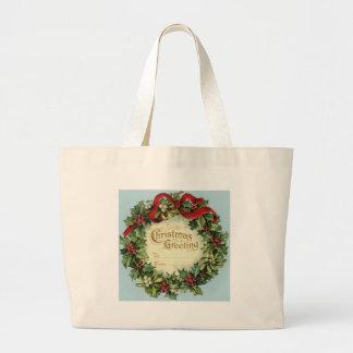 Navidad adaptable del vintage que saluda bolsa