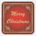 Navidad adaptable rojo de lujo pegatina cuadrada