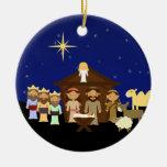 Navidad adorable de la escena de la natividad adorno navideño redondo de cerámica