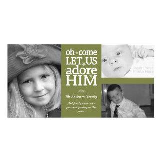 Navidad - adórelo - collage de 3 fotos tarjetas fotograficas personalizadas