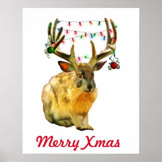 Navidad adornada de Jackalope del navidad feliz Póster
