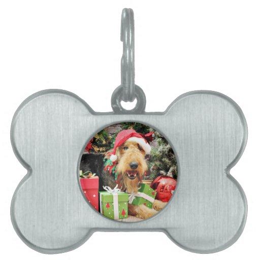 Navidad - Airedale - Kizzle Placas De Nombre De Mascota