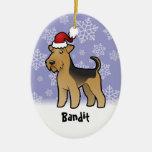 Navidad Airedale Terrier/Terrier galés Adorno Ovalado De Cerámica